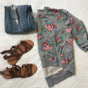 Floral Sweater with 3/4 Sleeves - S/M